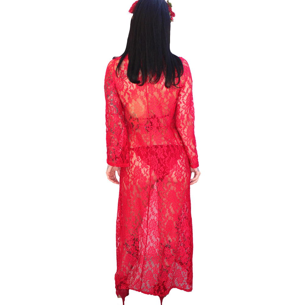 Demi Loon Midnight Lover Kimono Duster Red Lace Swim Cover Festival