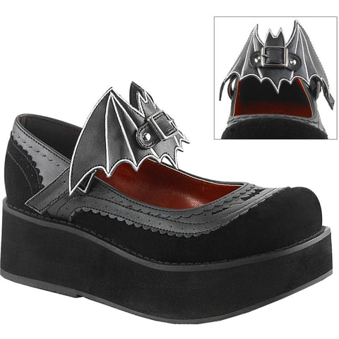 Women's Demonia Sprite-09 Platform Mary Jane w/ Removable Bat Cut-Out Goth