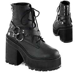 Women's Demonia ASSAULT-101 Block Heel Cleated Platform Ankle Boot Black