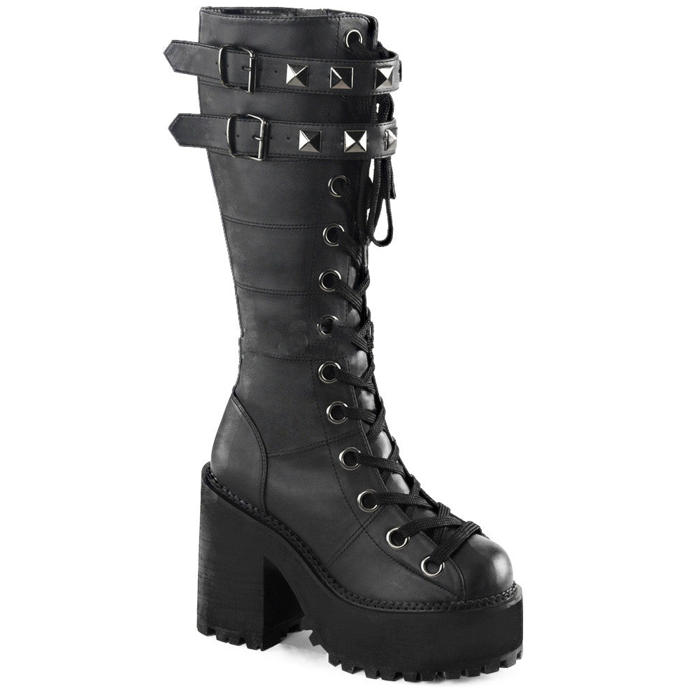 Women's Demonia ASSAULT-202 Platform Knee High Boot Black Punk Goth Studded