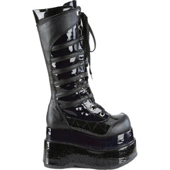 Women's Demonia Bear-205 Tiered Platform Knee High Boot Black Goth Cyber Goth