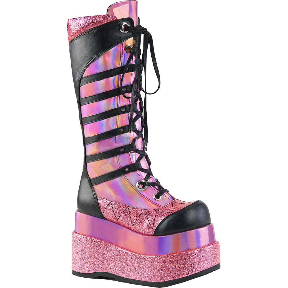 Womens Demonia Bear-205 Tiered Platform Knee High Boot Pink Hologram Pastel Goth
