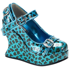 Women's Demonia Bravo-10 Wedge Turquoise Leopard Print Punk Psychobilly