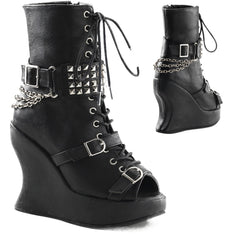 Womens Demonia Bravo-89 Wedge Platform Boot Black Punk Goth Chains Studs Buckles