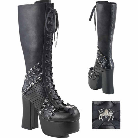 Women's Demonia CHARADE-150 Platform Knee High Boot Black Goth Studs Spider