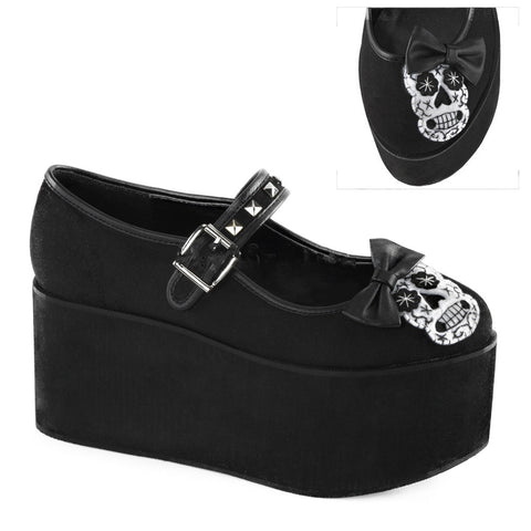 Women's Demonia CLICK-02-3 Platform Sugar Skull Mary Jane Shoe Day of the Dead