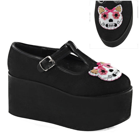 Women's Demonia CLICK-04-1 Platform Kitty Cat T-Strap Shoe Day of the Dead