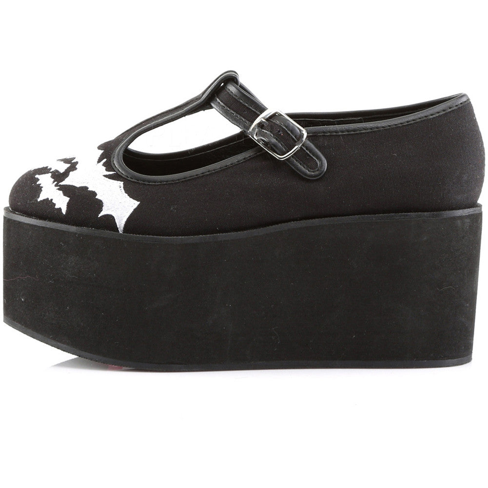 Women's Demonia CLICK-04-2 Platform Embroidered Bats T-Strap Shoe Punk Goth
