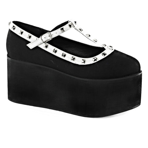 Women's Demonia CLICK-07 Two Tone Platform T-Strap Shoe Black Punk Goth