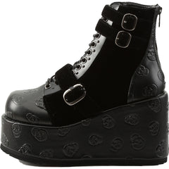 Women's Demonia CONCORD-55 Platform Lace-Up Anke Boot Black Goth Nugoth Punk