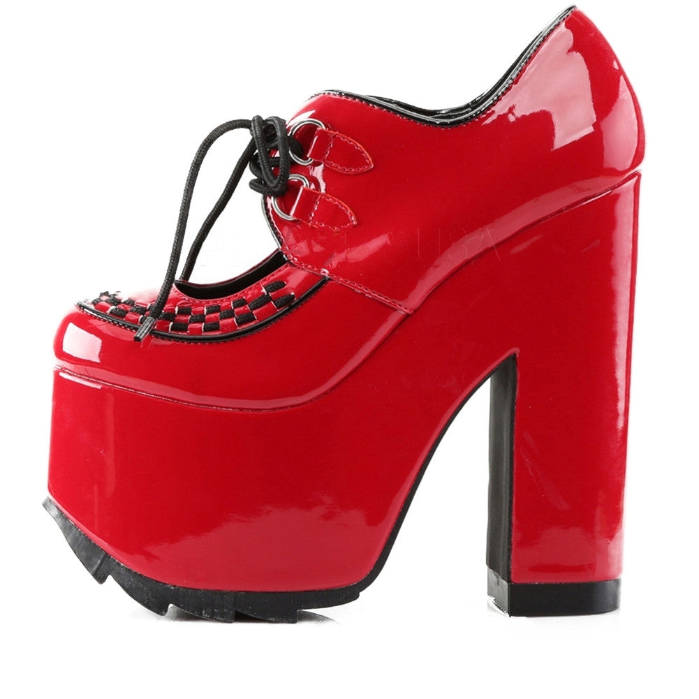 Women's Demonia CRAMPS-01 Red Patent Leather Heel Punk