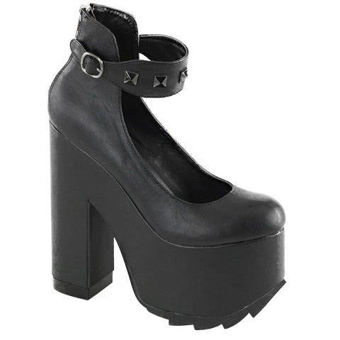 Women's Demonia CRAMPS-03 Black Leather Heel Punk Goth Studs