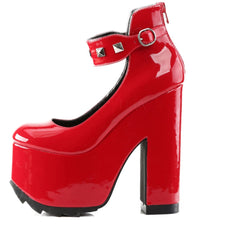 Women's Demonia CRAMPS-03 Red Patent Leather Heel Punk Studs