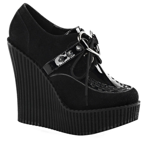 Women's Demonia CREEPER-302H Wedge Platform Heart O-Ring Shoe Black Punk