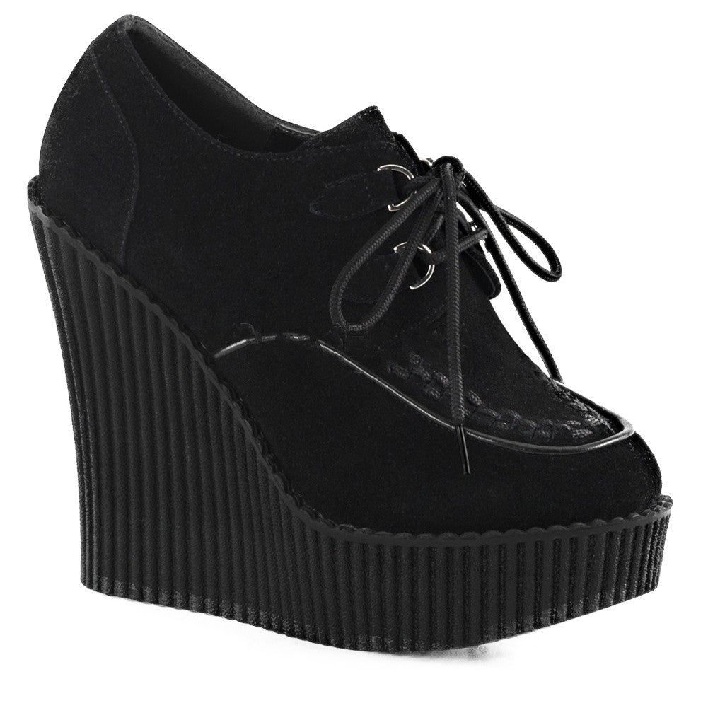 Women's Demonia CREEPER-302 Wedge Platform Shoe Black Punk