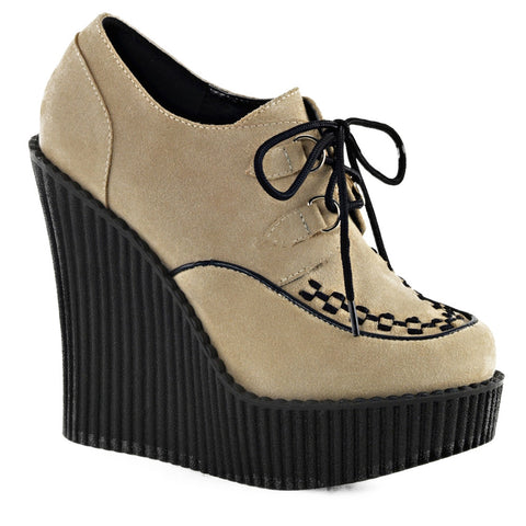 Women's Demonia CREEPER-302 Wedge Platform Shoe Cream Punk