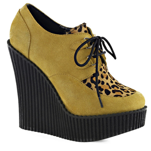 Women's Demonia CREEPER-304 Mustard Wedge Shoe Leopard Print