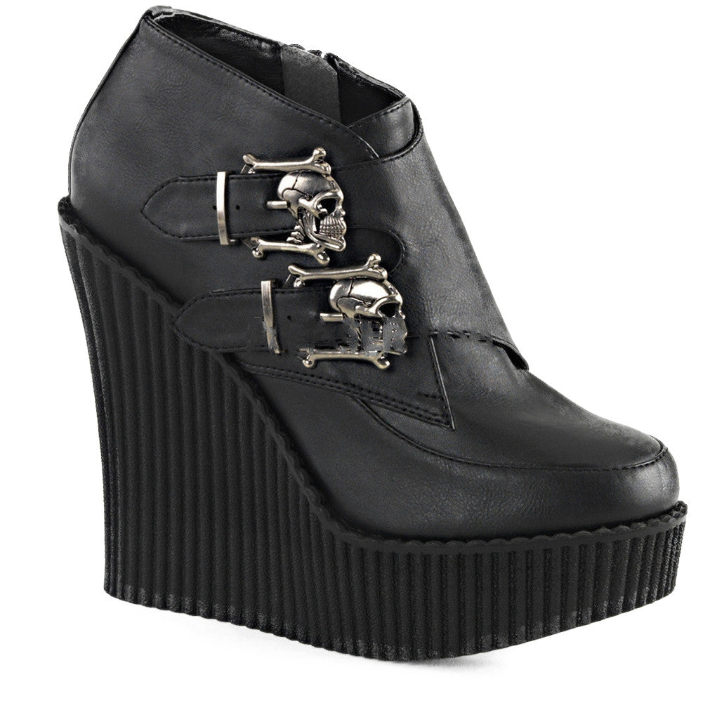 Women's Demonia CREEPER-306 Wedge Platform Monk Shoe Black Punk Skulls Goth