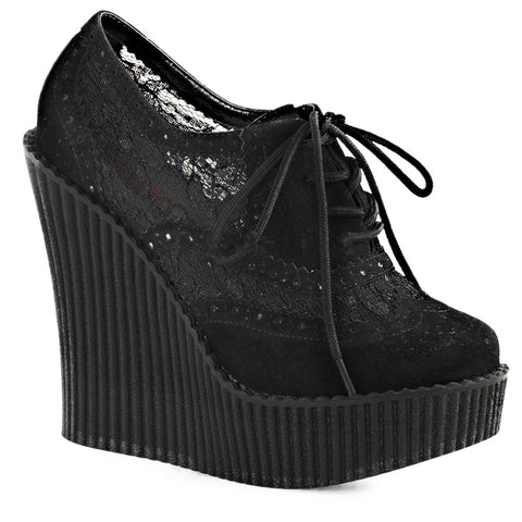 Women's Demonia CREEPER-307 Wedge Platform Brogue Shoe Black Lace Punk Goth