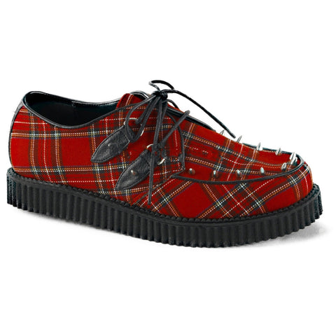 Women's Demonia CREEPER-603 Platform Plaid Shoe Red Punk Plaid Spikes