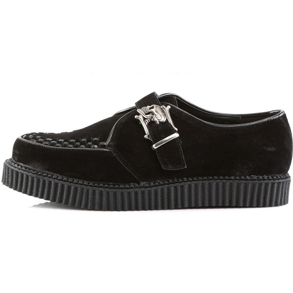 Women's Demonia CREEPER-605 Platform Monk Shoe Black Punk Goth Skulls