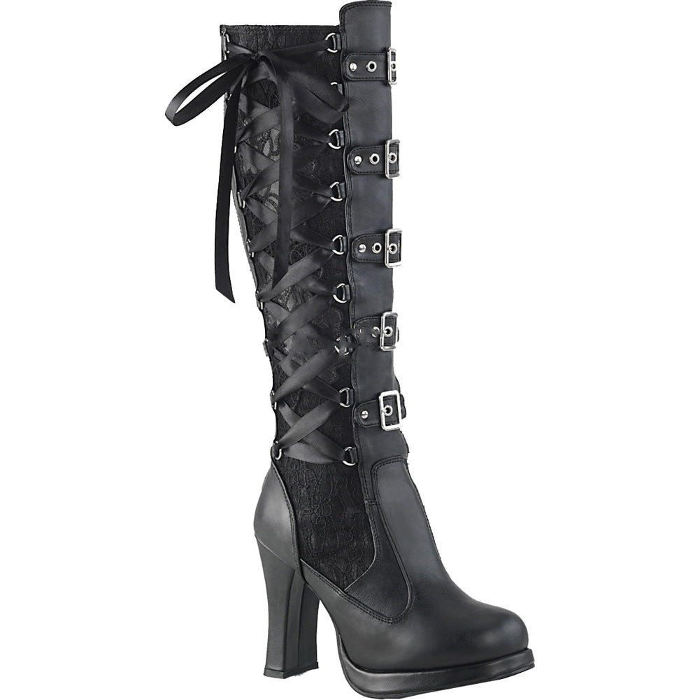 Women's Demonia CRYPTO-106 Platform Corseted Knee Boot Black Goth Lolita Lacing