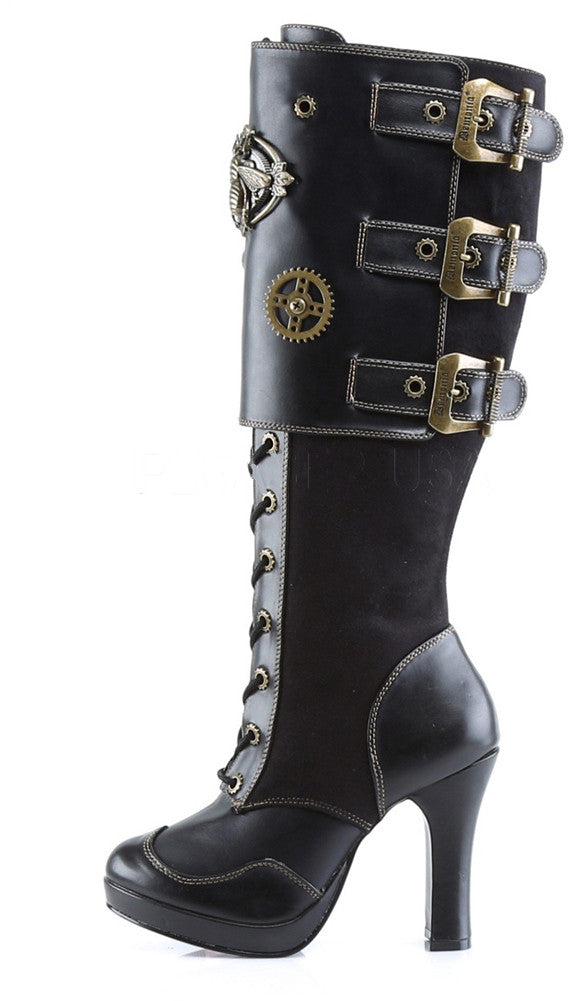 Demonia CRYPTO-302 Steampunk Knee Boot Black Buckles Bee Cog