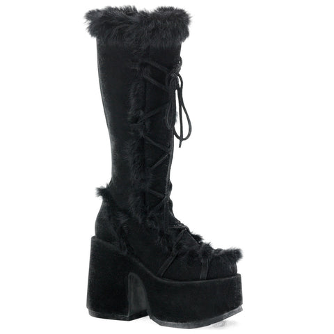 Women's Demonia Camel-311 Platform Boot Black Lace Up Vegan Fur Goth