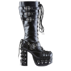 Women's Demonia Charade-206 Platform Knee Boot Black Goth Punk