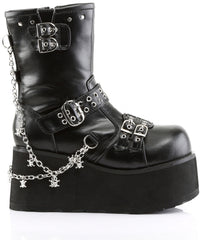 Women's Demonia Clash-430 Calf High Platform Boot Black Goth Punk Skulls
