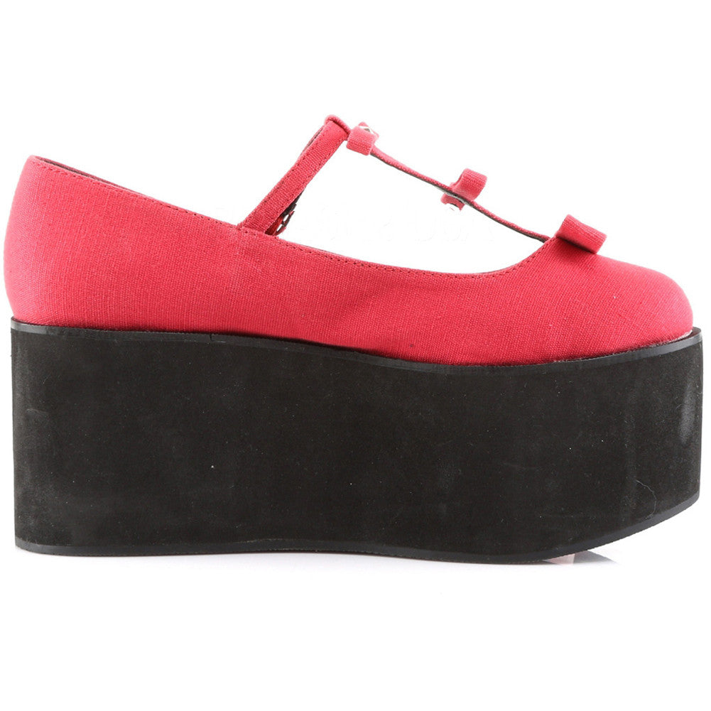 Women's Demonia Click-08 Platform T-Strap Shoe Red Punk