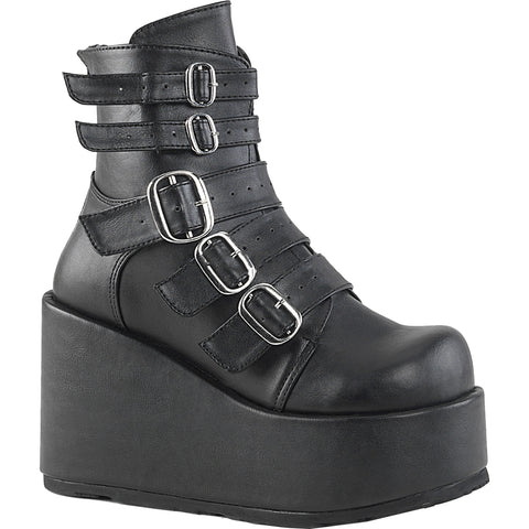 Women's Demonia Concord-57 Platform Ankle Boot Black Vegan Leather Goth