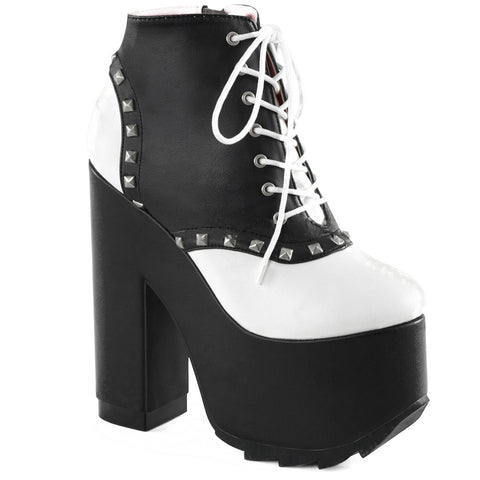 Women's Demonia Cramps-100 Lace-Up Saddle Bootie Black/White Platform