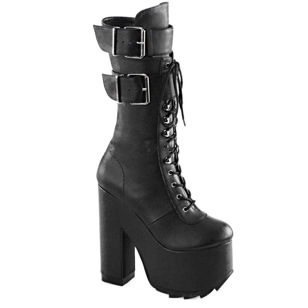 Women's Demonia Cramps-202 Platfrom Lace-Up Knee Boot Black