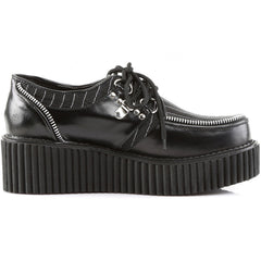 Women's Demonia Creeper113 Pinstripes Shoe Black/White Punk Goth