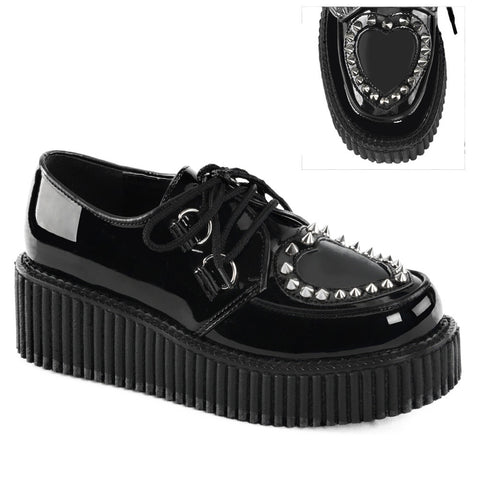 Women's Demonia Creeper-108 Platform Shoe Black Studded Heart Punk Goth