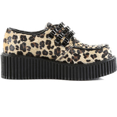 Women's Demonia Creeper-112 Platform Leopard Shoe Brown Leopard Print Rockabilly