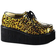 Women's Demonia Creeper-208 Cheetah Glitter Shoe Gold Animal Print Punk