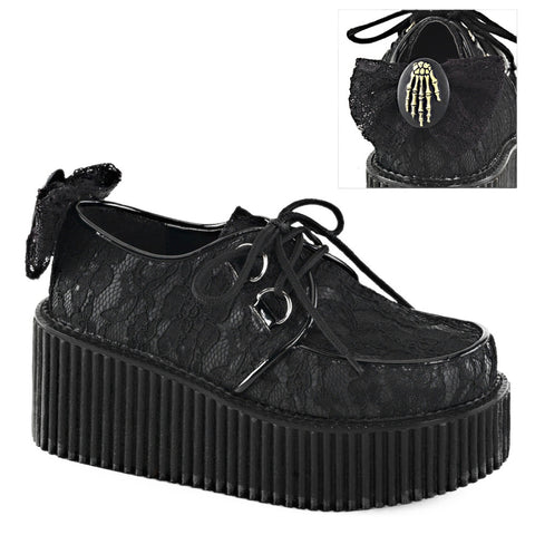 Women's Demonia Creeper-212 Platform Lace-Overlay Shoe Black Punk Goth Skeleton