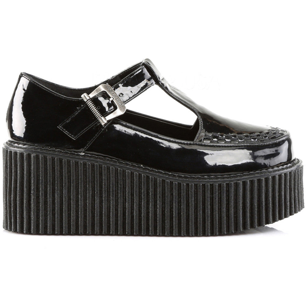 Women's Demonia Creeper-214 Platform T-Strap Shoe Black Punk Goth Psychobilly