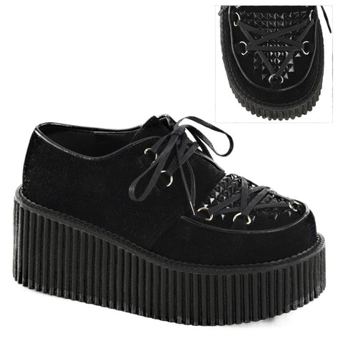 Women's Demonia Creeper-216 Platform Vegan Suede Shoe Black Studded Punk Goth