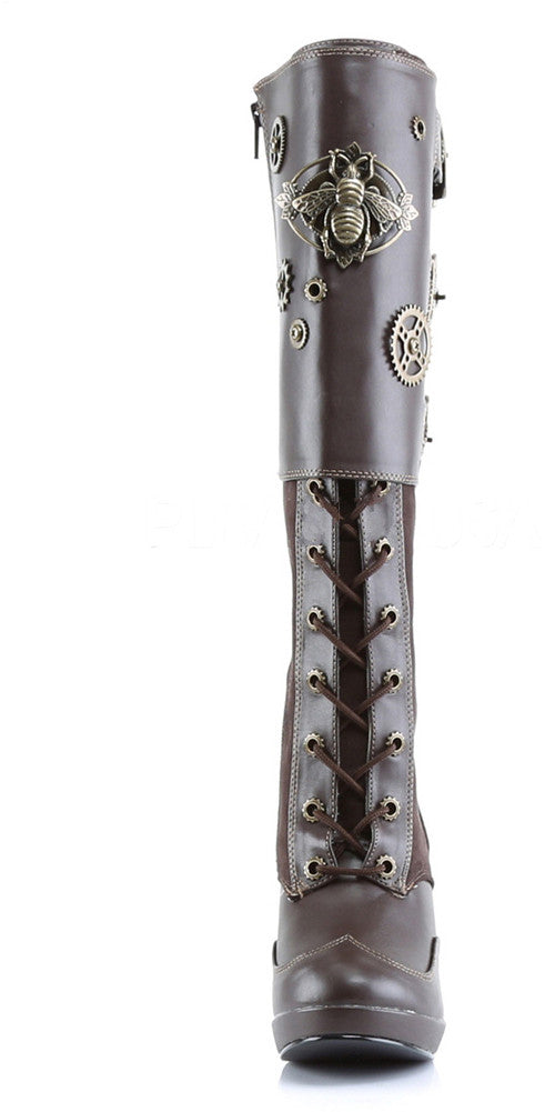 Women's Demonia Crypto-302 Knee Boot Brown Steampunk Gears