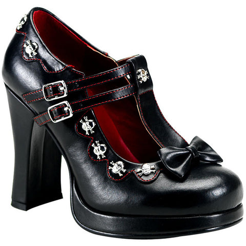 Womens Demonia Crypto-06 Platform Mary Jane T-Strap Heel Black Skulls Punk Goth