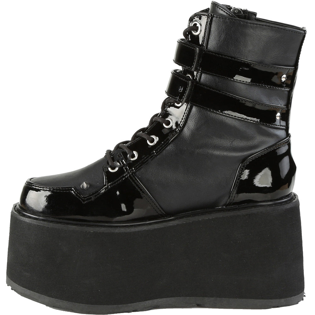 Women's Demonia DAMNED-115 Platform Lace-Up Ankle Boot Black Goth