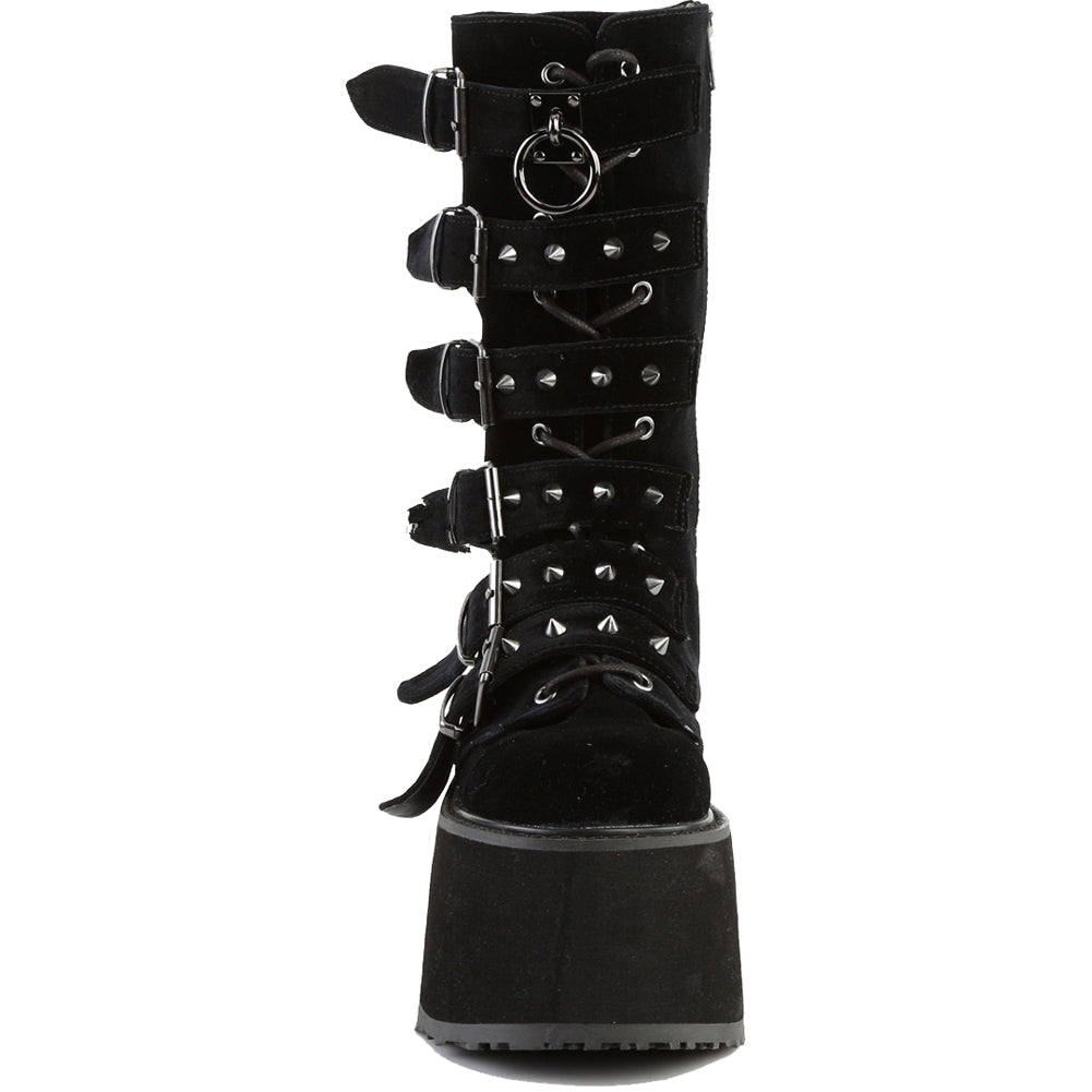Women's Demonia DAMNED-225 Platform Mid-Calf Boot Black Velvet Goth Punk Spikes
