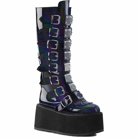Women's Demonia DAMNED-318 Platform Knee High Boot Black Hologram Cyber Goth