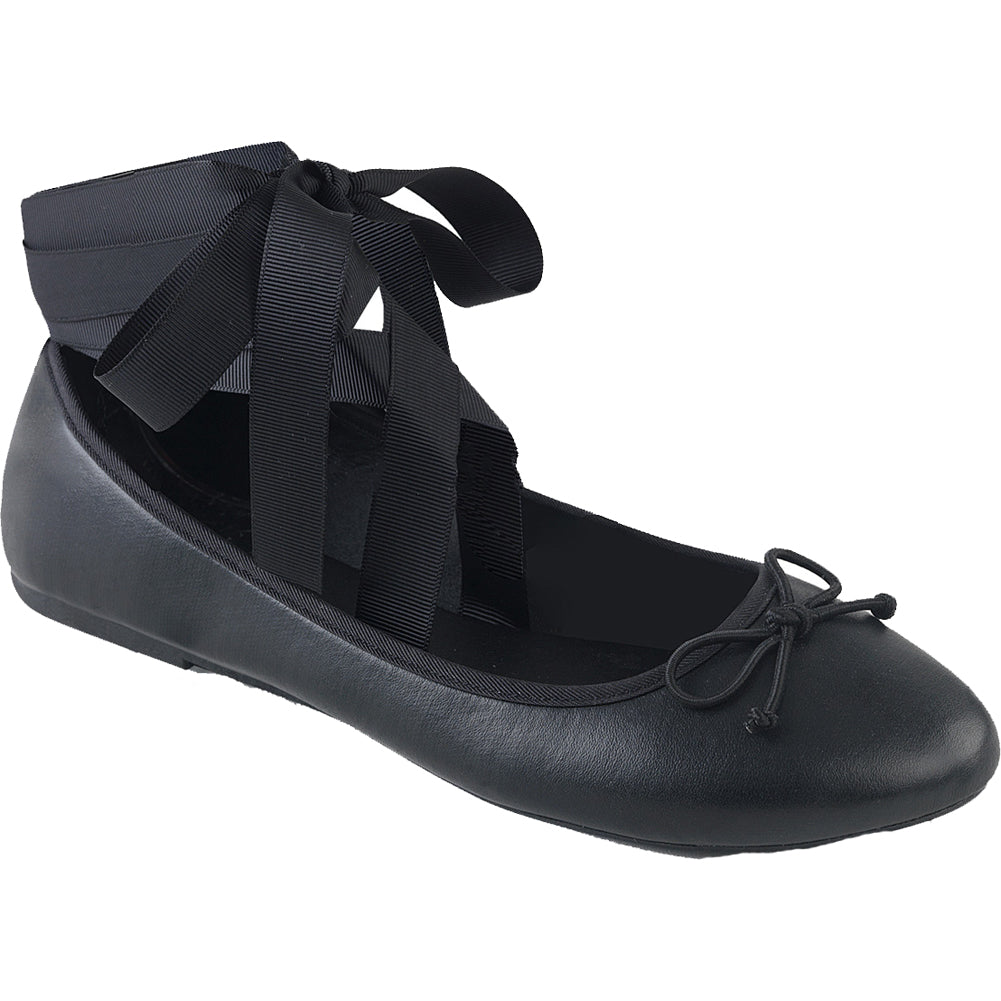 Women's Demonia DRAC-03 Round Toe Ballet Flat Black Leather Ankle Ribbon Goth