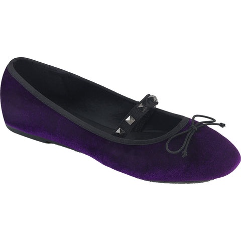 Women's Demonia DRAC-07 Round Toe Mary Jane Flat Purple Studs Goth