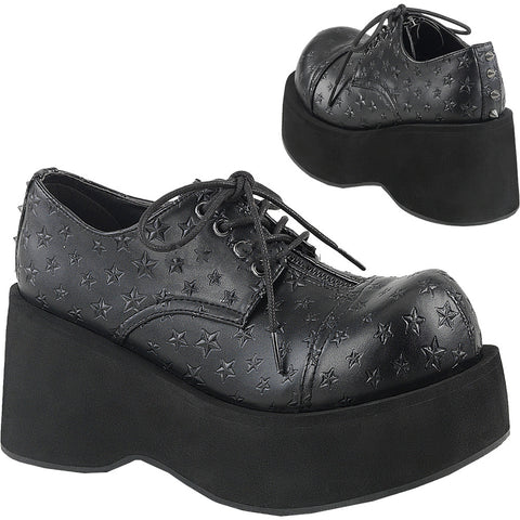 Women's Demonia Dank-111 Platform Oxford Shoe Black Goth Nugoth