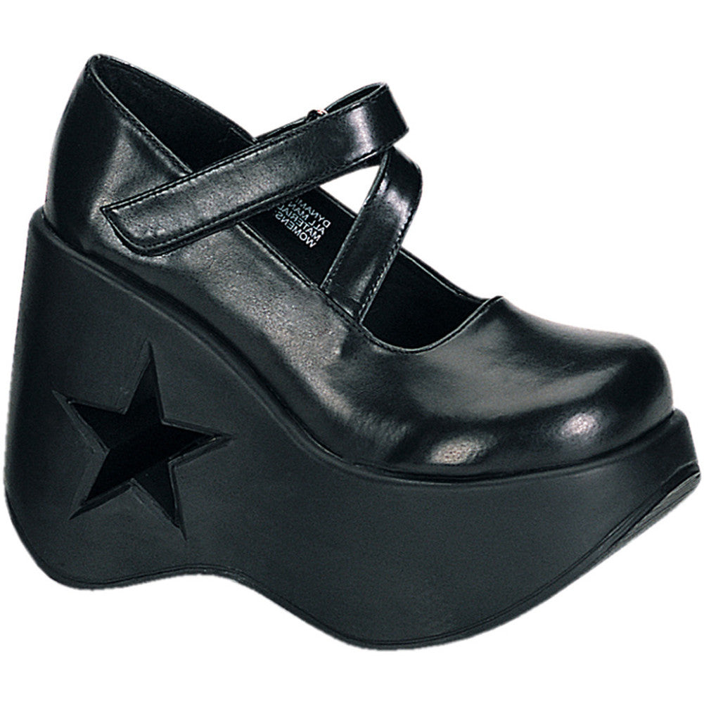 Women's Demonia Dynamite-03 Platform Wedge Shoe Black Star Cutout Punk Goth